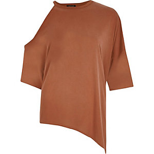 Rust loose asymmetrical longline top