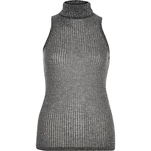 Grey sparkly sleeveless roll neck top