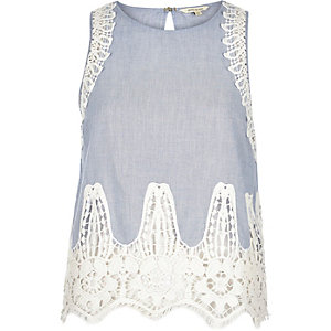 Blue chambray lace sleeveless tank top