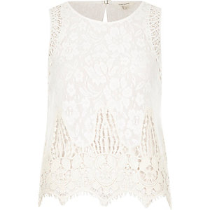 Cream lace sleeveless tank top