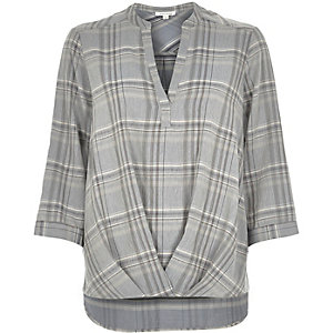 Grey check wrap front V-neck blouse