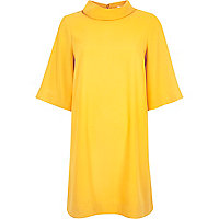 Yellow roll neck swing dress