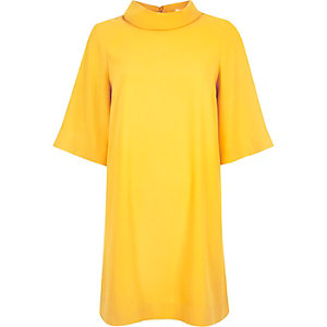 Yellow roll neck swing dress