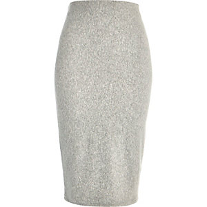 Light grey ribbed velour pencil skirt