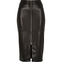Black leather-look zip front pencil skirt