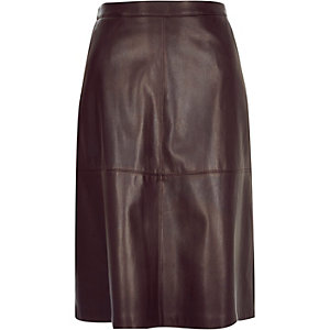 Dark red leather-look midi skirt
