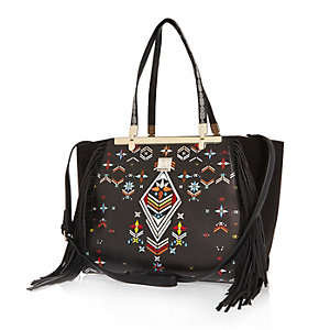 Black tapestry print fringed handbag