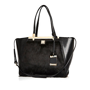 Black faux-fur winged tote handbag
