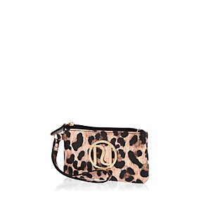 Beige leopard print zip top branded purse
