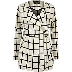 Cream check lightweight belted jacket