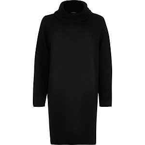 Black cowl neck ovoid sweater dress