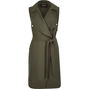 Khaki crepe sleeveless trench jacket