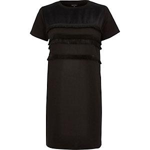 Black fringed t-shirt dress