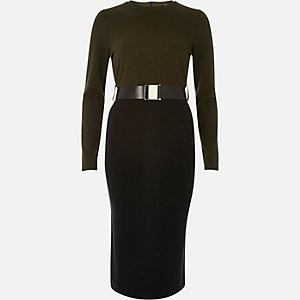Khaki green 2-in-1 bodycon midi dress