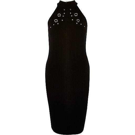 Schwarzes figurbetontes Kleid mit Ösen