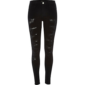 Black super ripped Molly jeggings