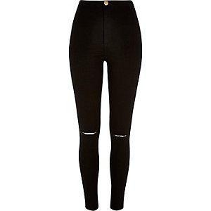 Black ripped knee tube pants