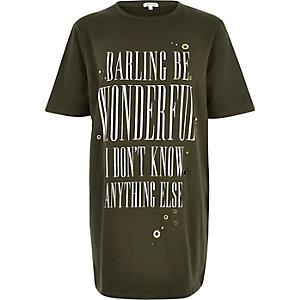 Khaki slogan print oversized t-shirt