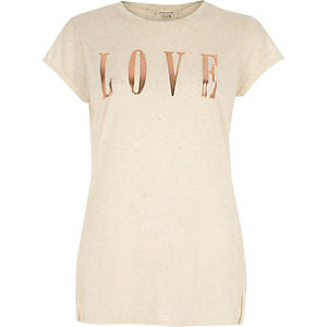 Beige love foil print fitted t-shirt