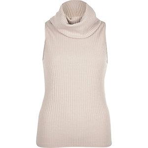 Grey ribbed cowl neck sleeveless top