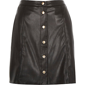 Black leather-look button-up skirt