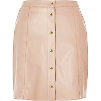 Pink leather-look button-up skirt