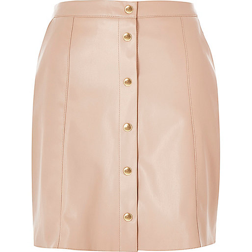 pink leather look button up skirt mini skirts skirts