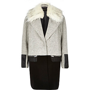 Grey herringbone tweed wool-blend coat