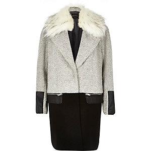Grey herringbone tweed wool-blend coat