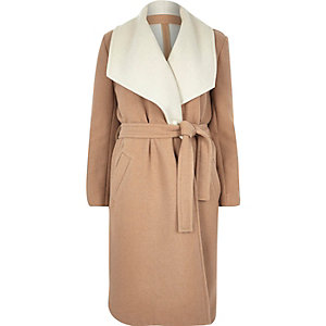 Camel wool-blend belted robe coat