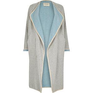 Grey check drape slouchy maxi coat