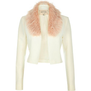 Cream cropped fun faux-fur jacket