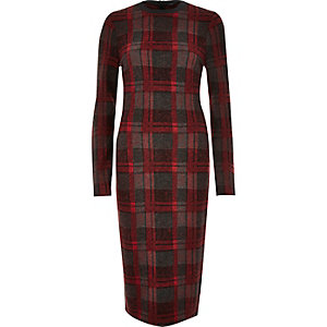 Red check long sleeve bodycon dress