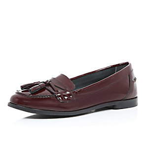 Dark red patent leather tassel loafers