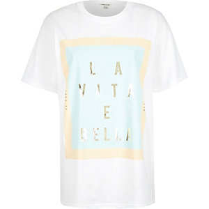 White la vita print oversized t-shirt