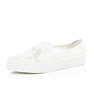 White lace slip on plimsolls