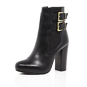 Black leather buckle heeled ankle boots