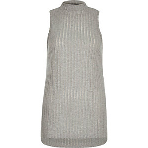 Grey ribbed stepped hem top