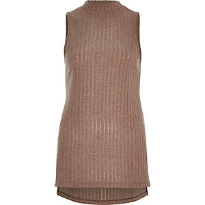 Brown ribbed stepped hem top