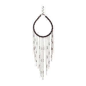 Dark brown fine beaded chain necklace