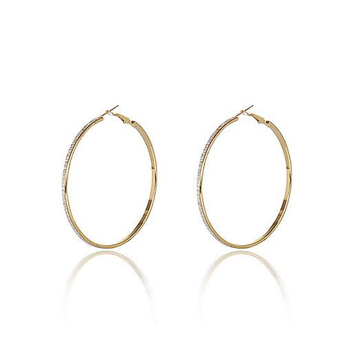 Gold tone glittery skinny hoop earrings