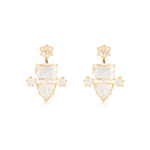 Gold tone gem front and back earrings