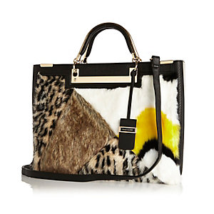 Black faux-fur large tote handbag