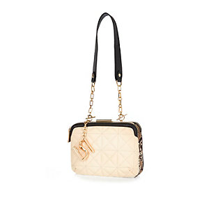 Cream quilted underarm handbag