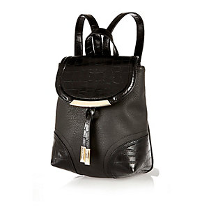 Black mini panelled backpack