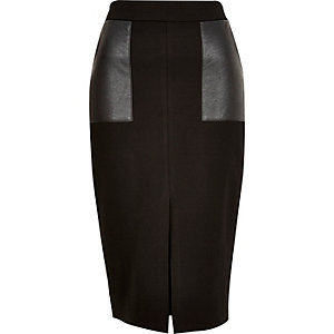 Black leather-look pocket pencil skirt