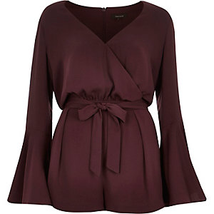 Dark red 70s bell sleeve playsuit