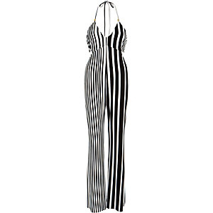Black smart stripe jumpsuit