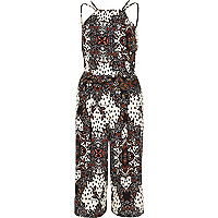 Cream paisley print strappy cropped jumpsuit