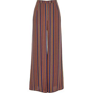 Brown stripe palazzo pants